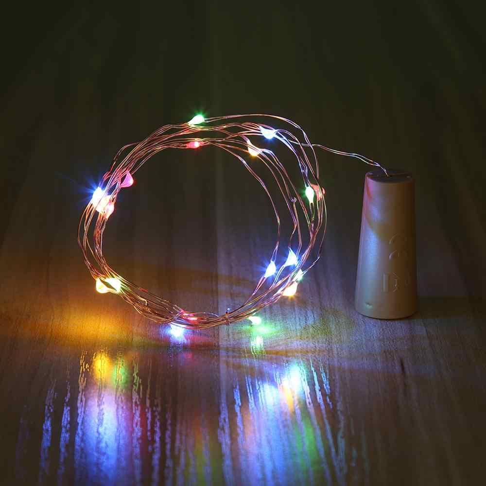 1 m/2 m en forma de corcho LED cadena lámpara DIY botella de vino Hada luz Multicolor cobre y plástico cuerdas para fiesta de boda