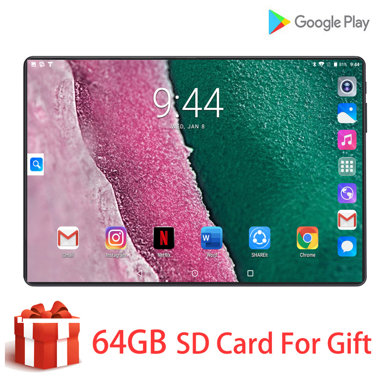 2020 New Hot 10.1 Inch Tablet PC Octa Core 6GB RAM 64GB ROM Dual SIM Unlocked 3G 4G LTE WiFi Bluetooth Android 9.0 Tablets 10.1