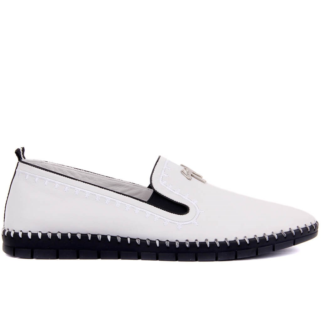 Sail-Lakers White Leather Male Espadril
