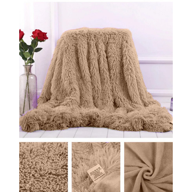 Bedspread Plaid fur double sided grass 100 natural bamboo