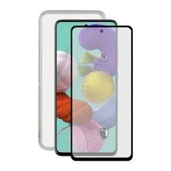 Szkło hartowane mobilny ochraniacz ekranu + etui mobilne Samsung Galaxy A51 kontakt