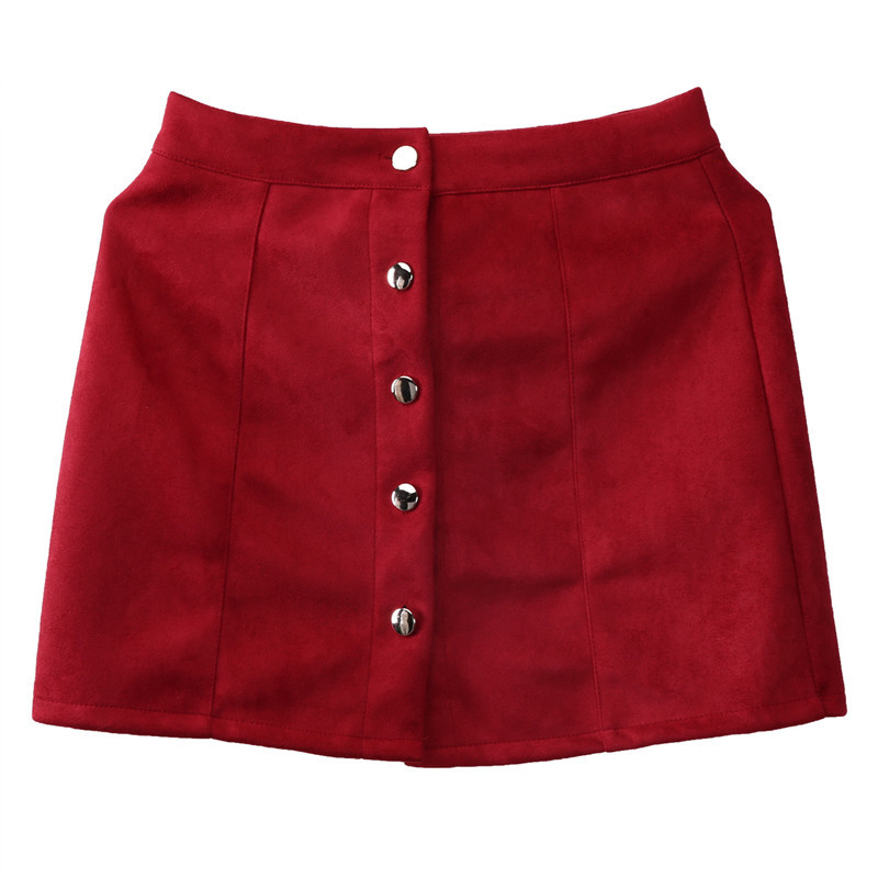 New fashion Women Ladies High Waist Pencil Skirts button lace patchwork sexy Bodycon Suede Leather split party casual Mini Skirt 41