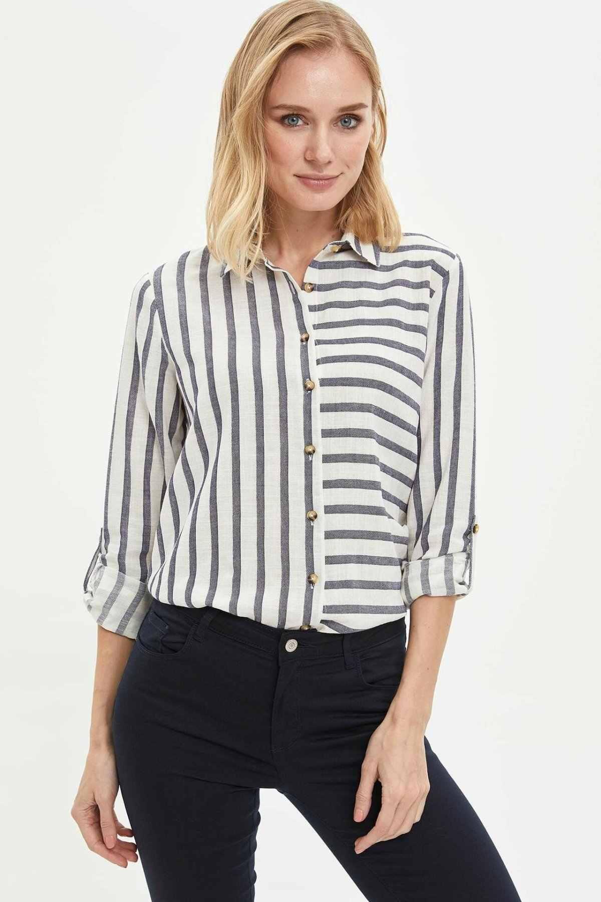 DeFacto אישה אביב פסים חולצות נשים מקרית שחור לבן פסים למעלה חולצות ארוך שרוול Shirt-K3563AZ20SP