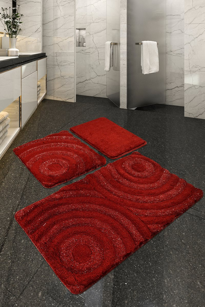 Bath Mat-mats | Mat Bath Mats Non Slip Anti Mould Mats Red Wave 3L Set 60X100 Cm-50X60 Cm-40X60 Cm