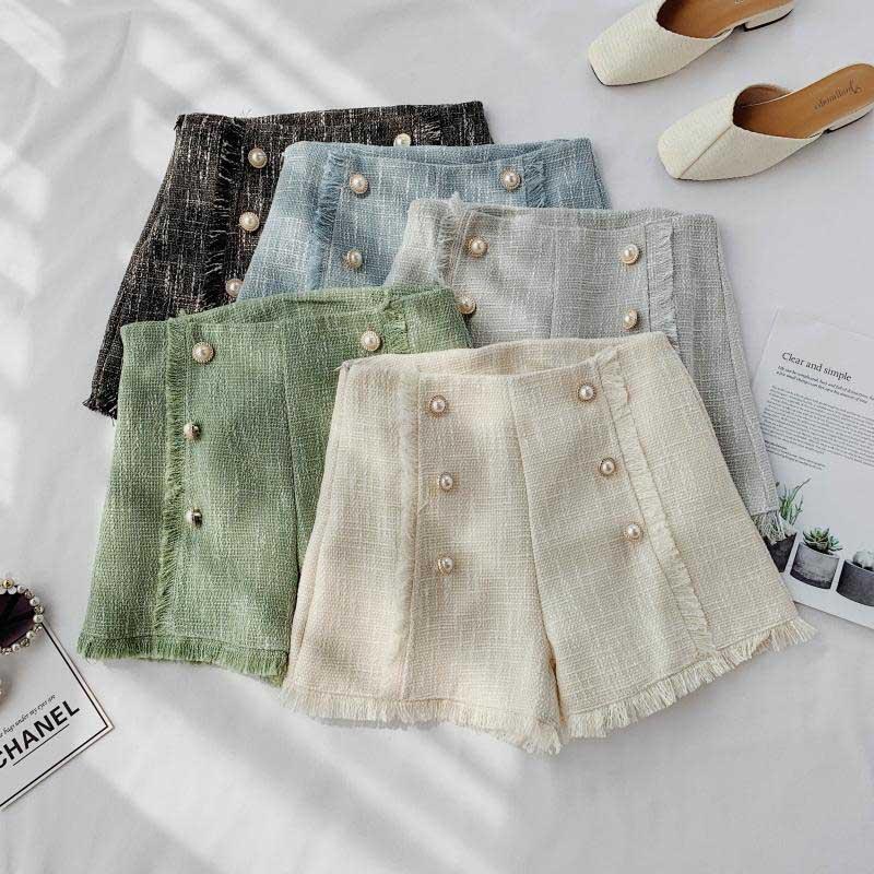 NiceMix Korean Small Fragrant Style Tweed Bright Silk Tassel Skirt Temperament High Waist Bag A Line Hip Jupe Autumn Skirts