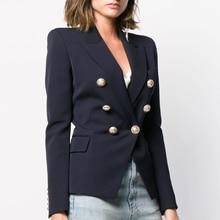 2019 new womens luxury Double-breasted dark blue long-sleeved jacket fashion coat