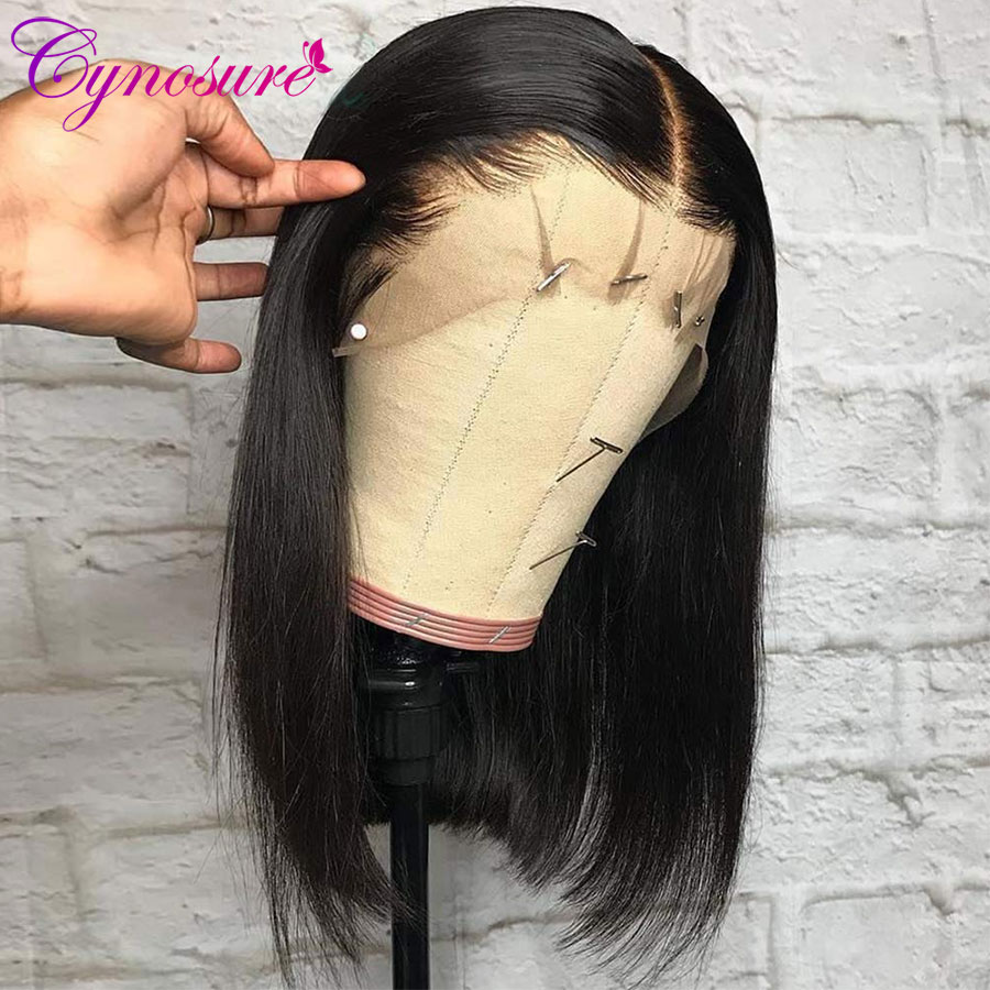 Cynosure Wigs Human-Hair Lace-Frontal Short Bob Natural-Color Straight Black Women Brazilian