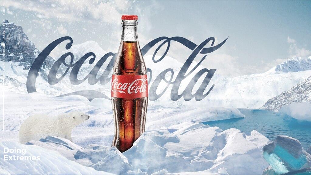 PS冰雪场景瓶装可乐合成广告