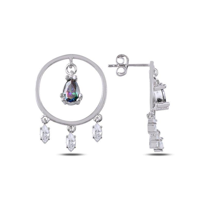 Angemiel 925 Silver Mystic Zircon Cubic Zirconia Drop Dangle Studded Earrings-Rhodium Plated