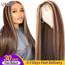 Perruque Lace Front Wig brésilienne naturelle – Unice Hair, cheveux lisses, blond miel brun, 13x4, à reflets, pour femmes