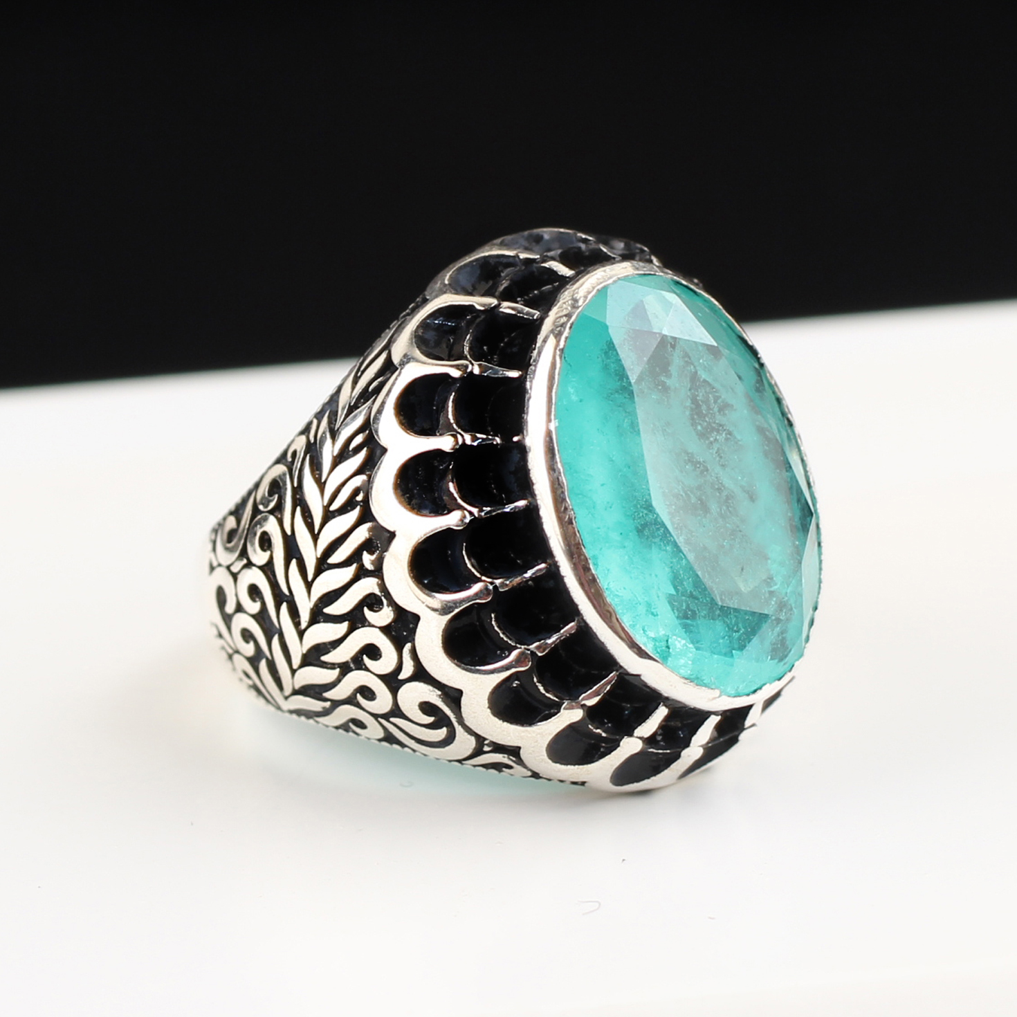 Man Ring 925 Sterling Silver Ring with Blue Parabia Tourmaline Handmade Silver Ring,Vintage Style Jewelry Gift for Him