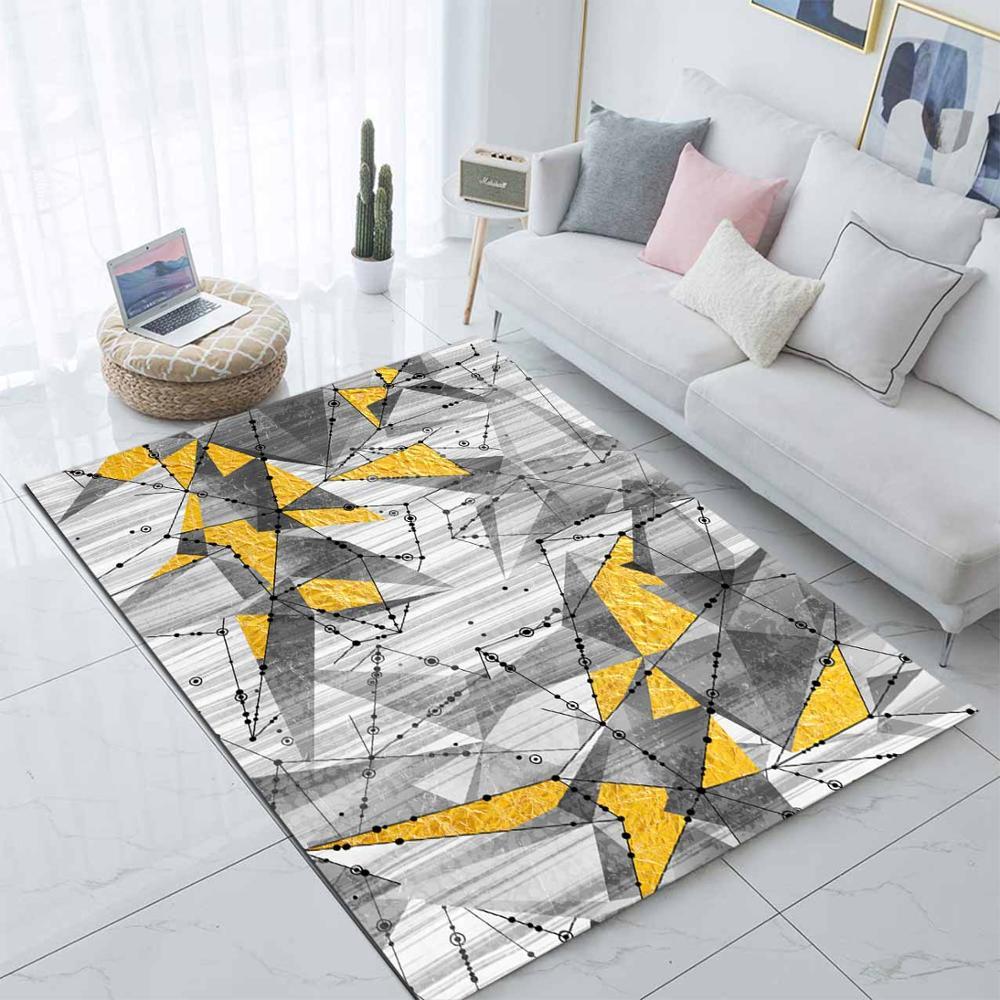 Else Gray Yellow Modern Geometric Stripe Nordec 3d Print Non Slip Microfiber Living Room Decorative Modern Washable Area Rug Mat