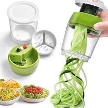 Ручной спиральный слайсер для овощей и фруктов, регулируемая спиральная терка, резак для салата, инструменты для приготовления сахариков, с...