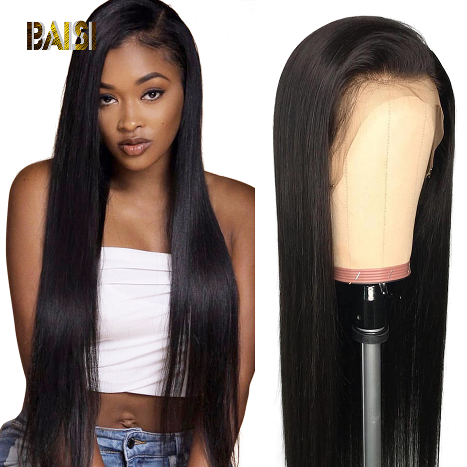 BAISI 13x6 Lace Front Human Hair Wigs With Pre-Plucked Hairline Human Wig Straight Front Lace Wigs Brazilian Virgin Hair