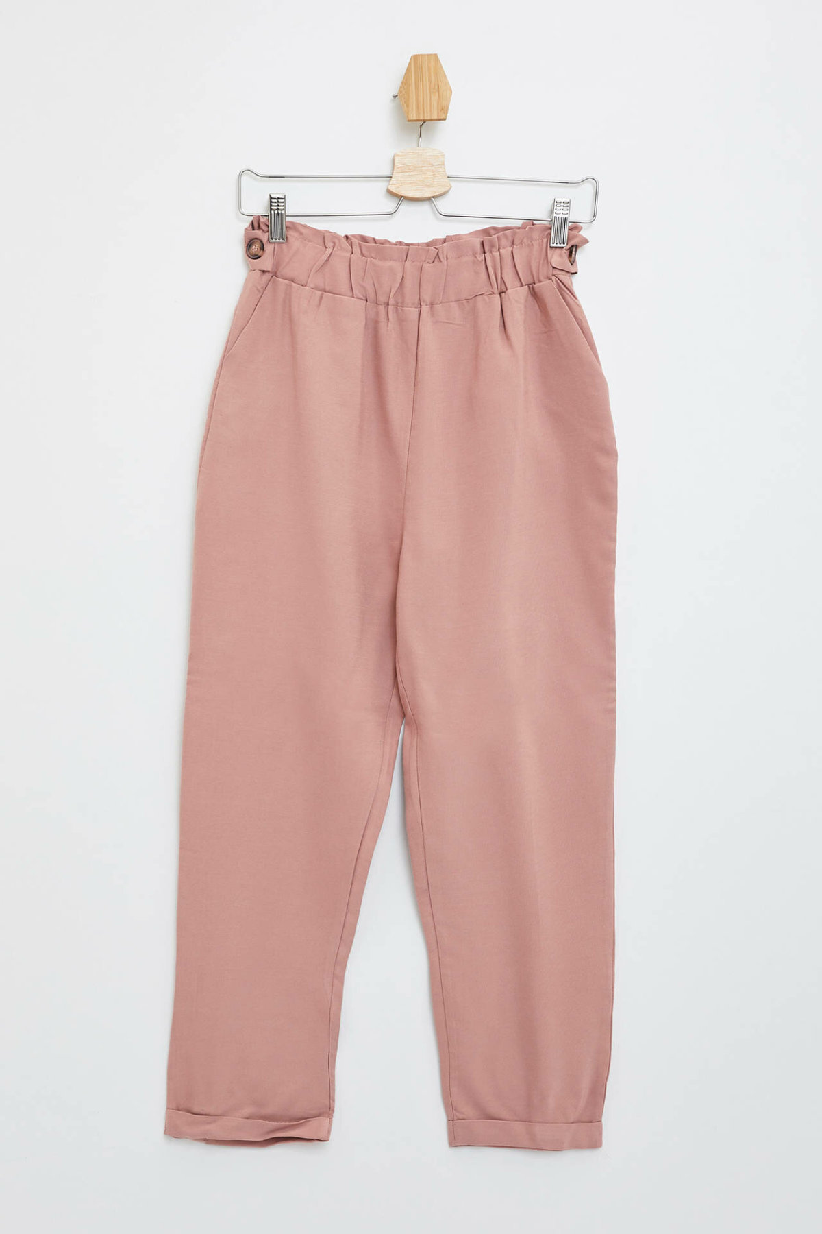 DeFacto Simple Woman Trousers Elegant Ladies High Quality Crop Pants Female Fashion Elastic Waist Pants Pink - M4877AZ19HS