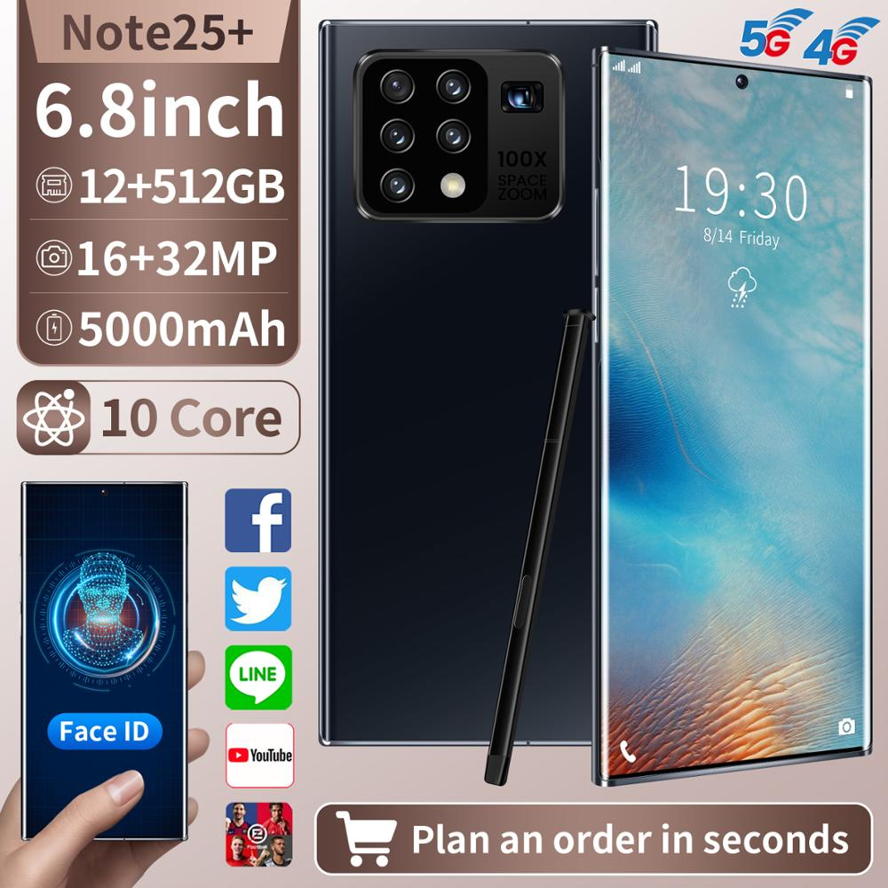 Note 25+ 6.8inch Full Display 10-Core 12GB +512GB Android Smartphones 2K Five Camera Universal 5G LE