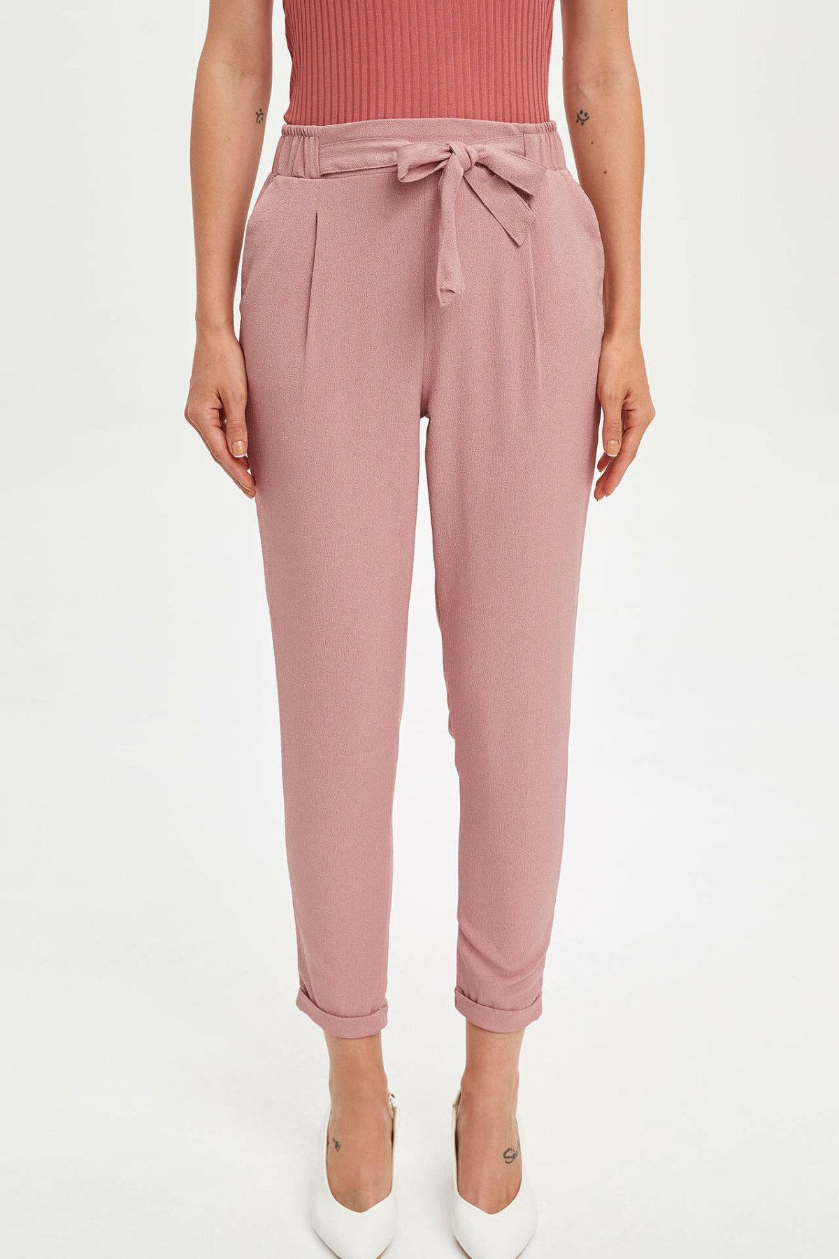 DeFacto Woman Summer Pink Chiffon Ninth Pants Women Lace-up Belt Bottoms Women Cargo Pants Lady Trousers-K9477AZ19SM
