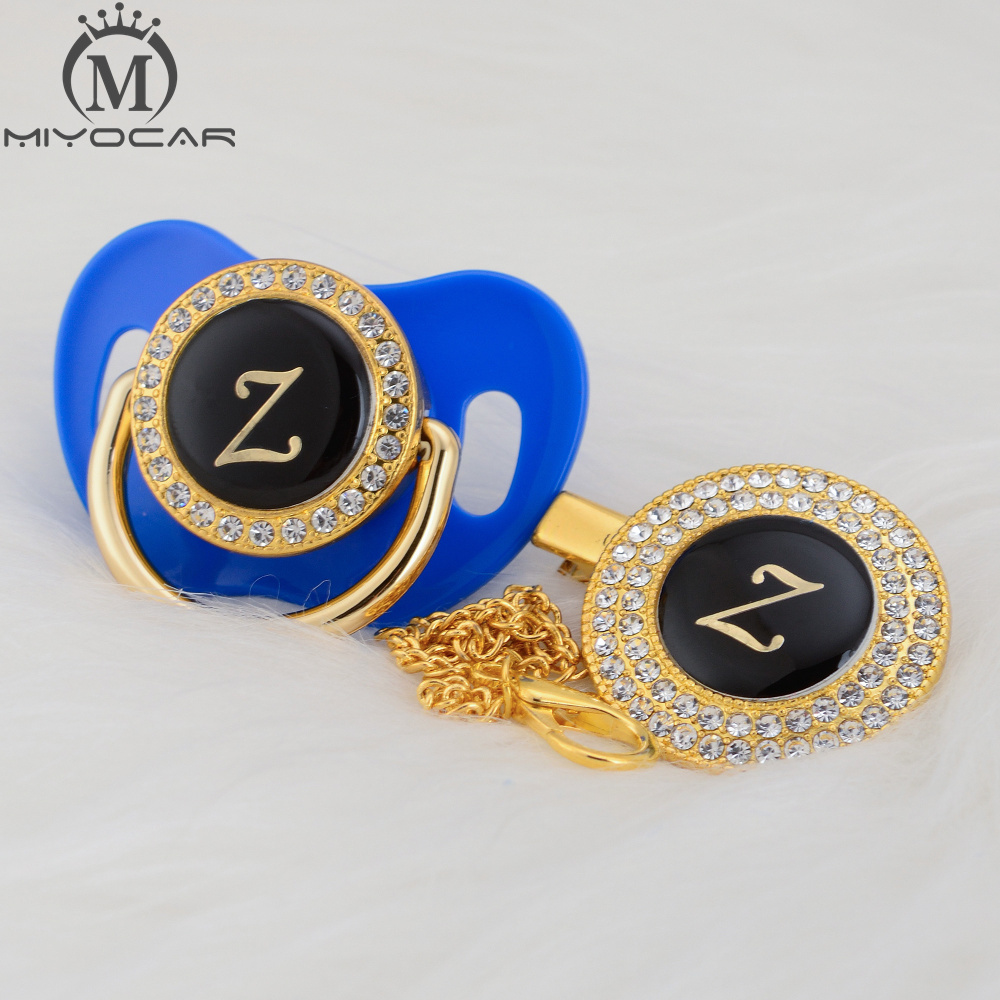 MIYOCAR Initial letter Z elegant gold bling pacifier and pacifier clip BPA free dummy bling unique design SGS pass LZ