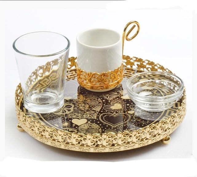 Turkish Tea Serving Set Tray Glasses Saucers Sugar Bowl  Dark Silver  /& Silver