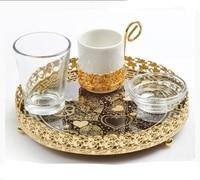 Anatolian Copper Ottoman turecka herbata kawa filiżanki do espresso Set 1 szklanka 1 szklanka 1 taca lustrzana 1 cukiernica wykonana w pudełku z indyka w Dzbanki do kawy od Dom i ogród na