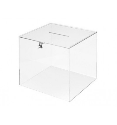 BALLOT Box FILE 2000 SQUARE WITH KEY METHACRYLATE 3 MM 300X300X300 MM