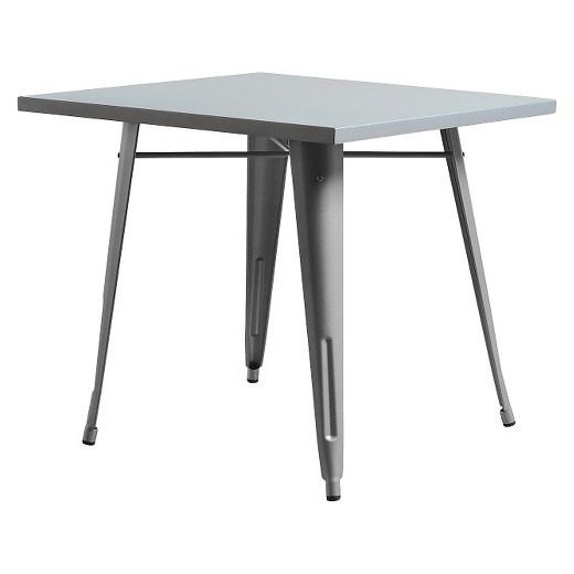 Table TOL, Steel, Silver Gray, 80x80 Cms