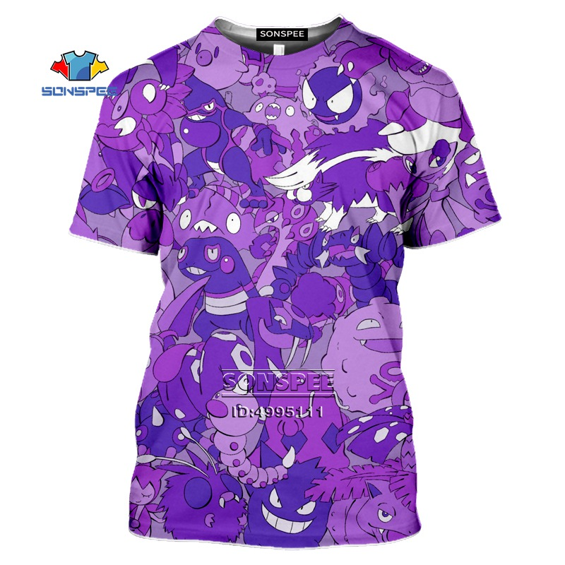 SONSPEE Gengar Men's T-shirt 3D Print Anime Pokemon Tshirt Women Gothic Casual Summer Hip Hop Shirt Oversized Tops Streetwear 1