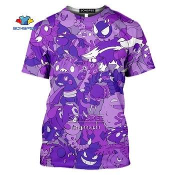 SONSPEE Gengar Men's T-shirt 3D Print Anime Pokemon Tshirt Women Gothic Casual Summer Hip Hop Shirt Oversized Tops Streetwear 1