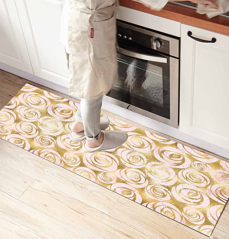 Else Scandinavian Yellow Roses Vintage 3d Print Non Slip Microfiber Kitchen Counter Modern Decorative Washable Area Rug Mat