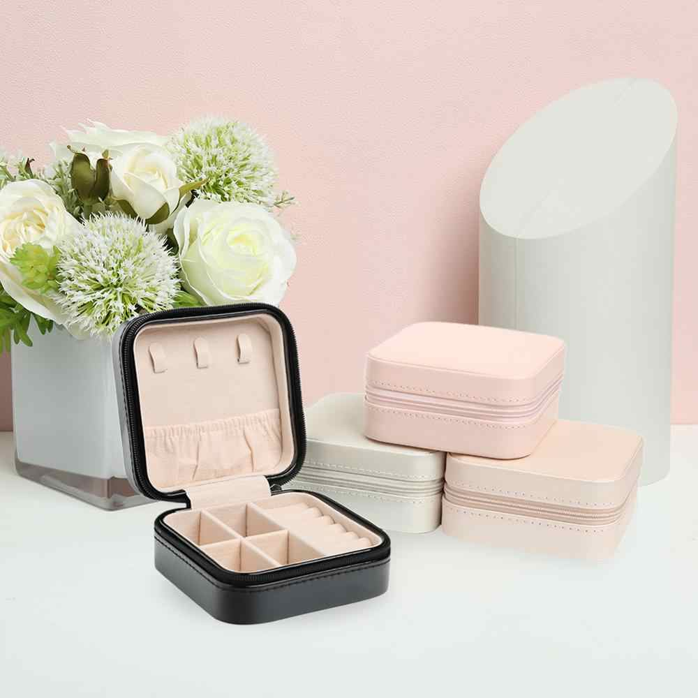 Portable Stud Earrings Rings Storage Box PU Leather Jewelry Display Case Portable Travel Jewelry Box Cosmetic Makeup Organizer