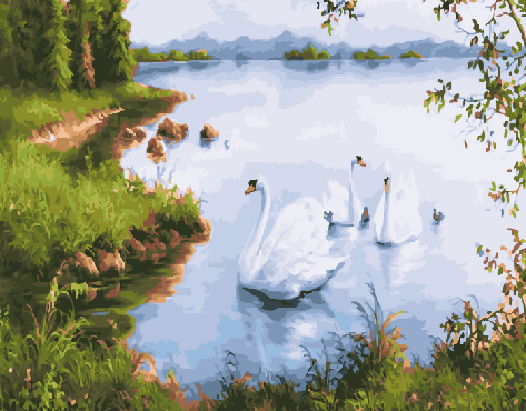 Painting By Numbers GX 29777 Swans At The Shore 40*50