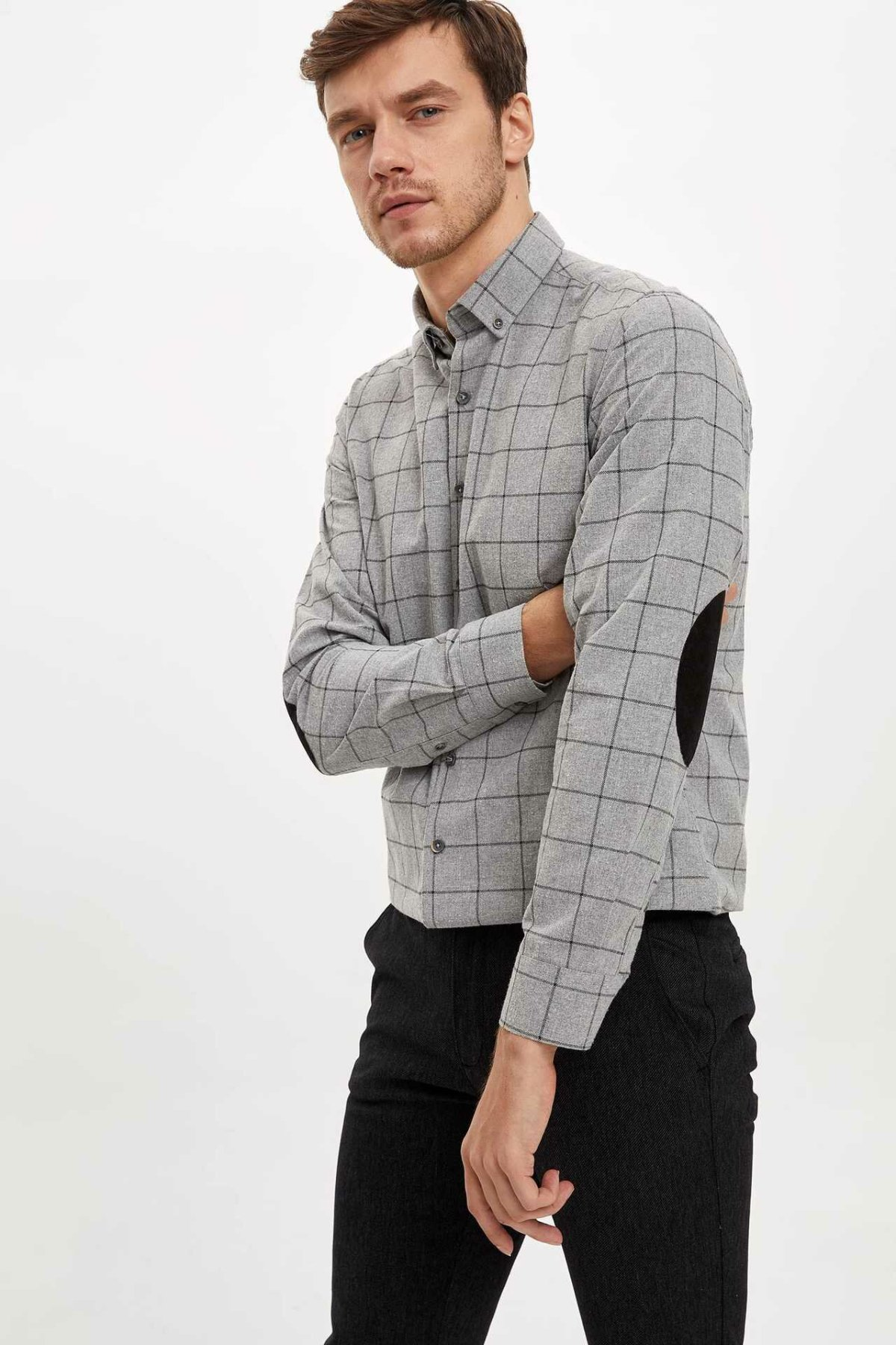 DeFacto Fashion Man Lapel Long Sleeve Plaid Shirt Men's Casual Single-breasted High Quality Shirts Male Autumn Tops- M2961AZ19WN