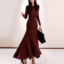 Fishtail Dress Waist-Pleated Autumn Korean-Version Winter Fashion And O-Neck Fan Temperament