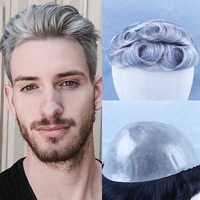 YY Wigs 1B Mixed Grey Human Hair Toupee for Men Brazilian Remy Human Hair Replacement System Men's Toupee 30mm Curly Skin Toupee