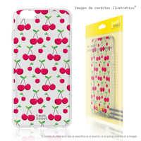 FunnyTech®Silicone Case for Xiaomi Redmi 7 L Cherries transparent