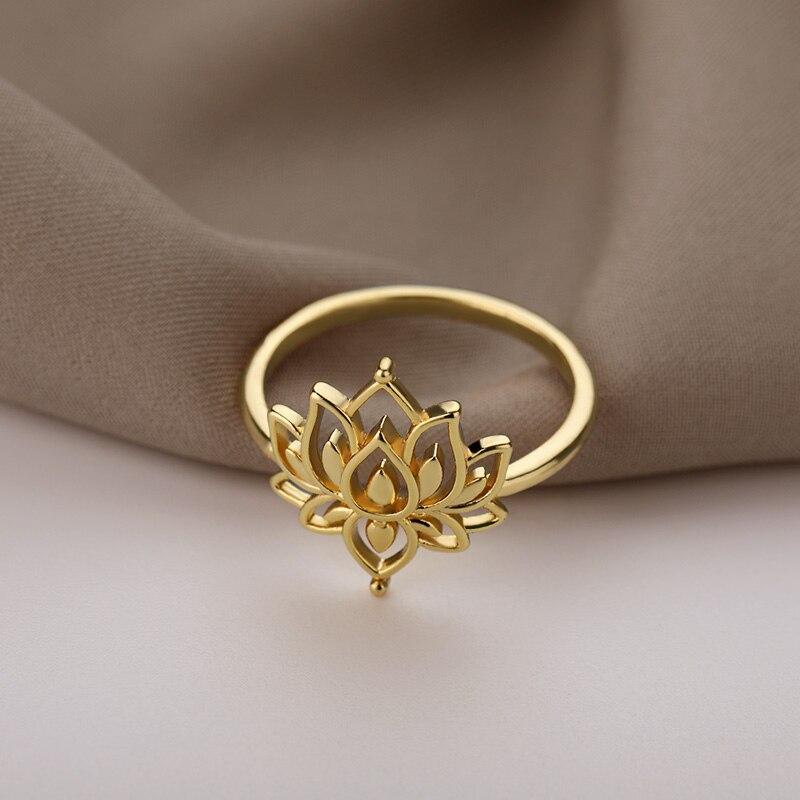 Stainless Steel Rings For Women Vintage Gold Lotus Flower Ring Men Moon Sun Opal Stone Ring Wedding Couple Rings Femme Jewelry