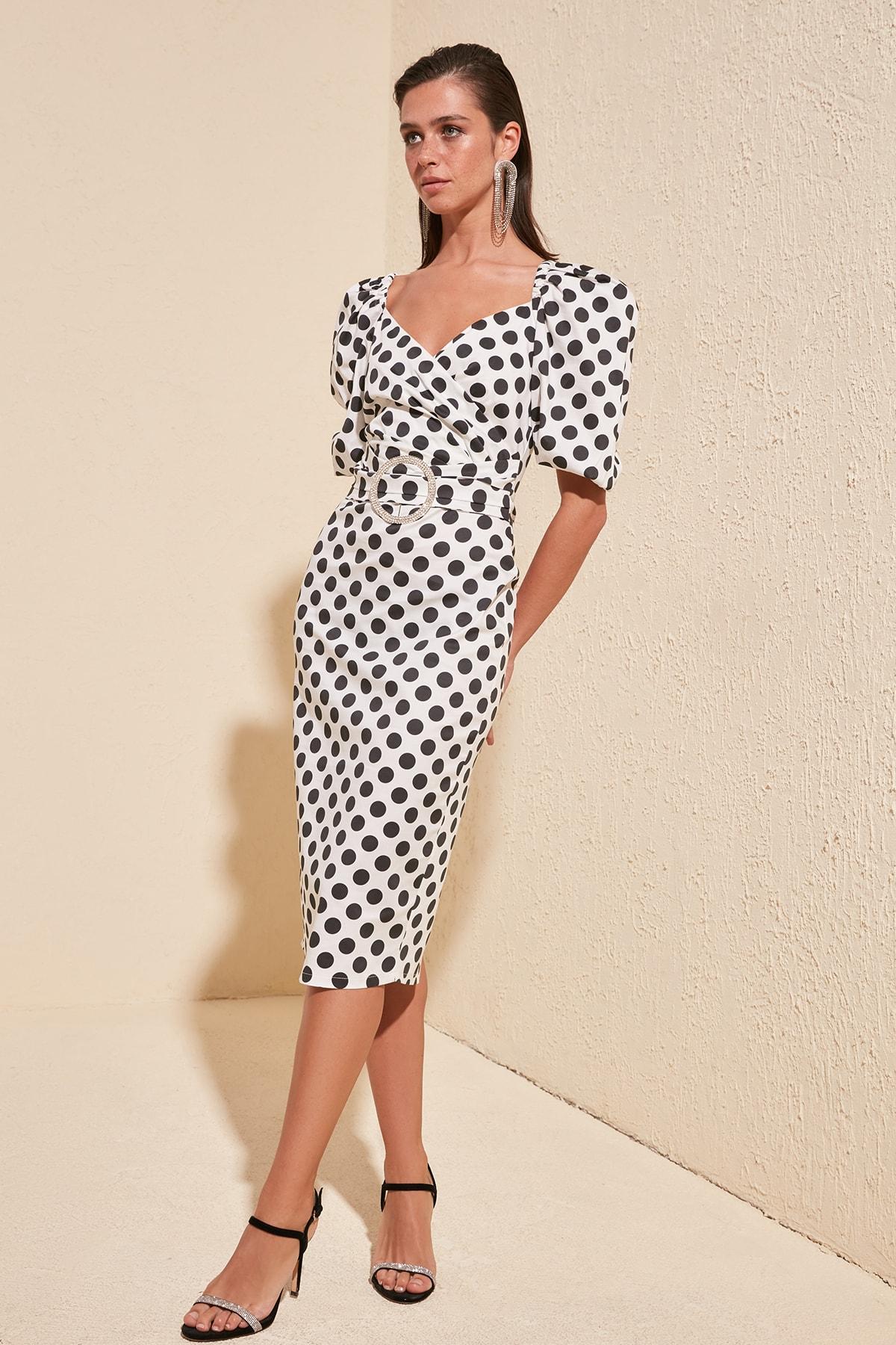 Trendyol Stone Arched Cotton Dress TPRSS20EL1163
