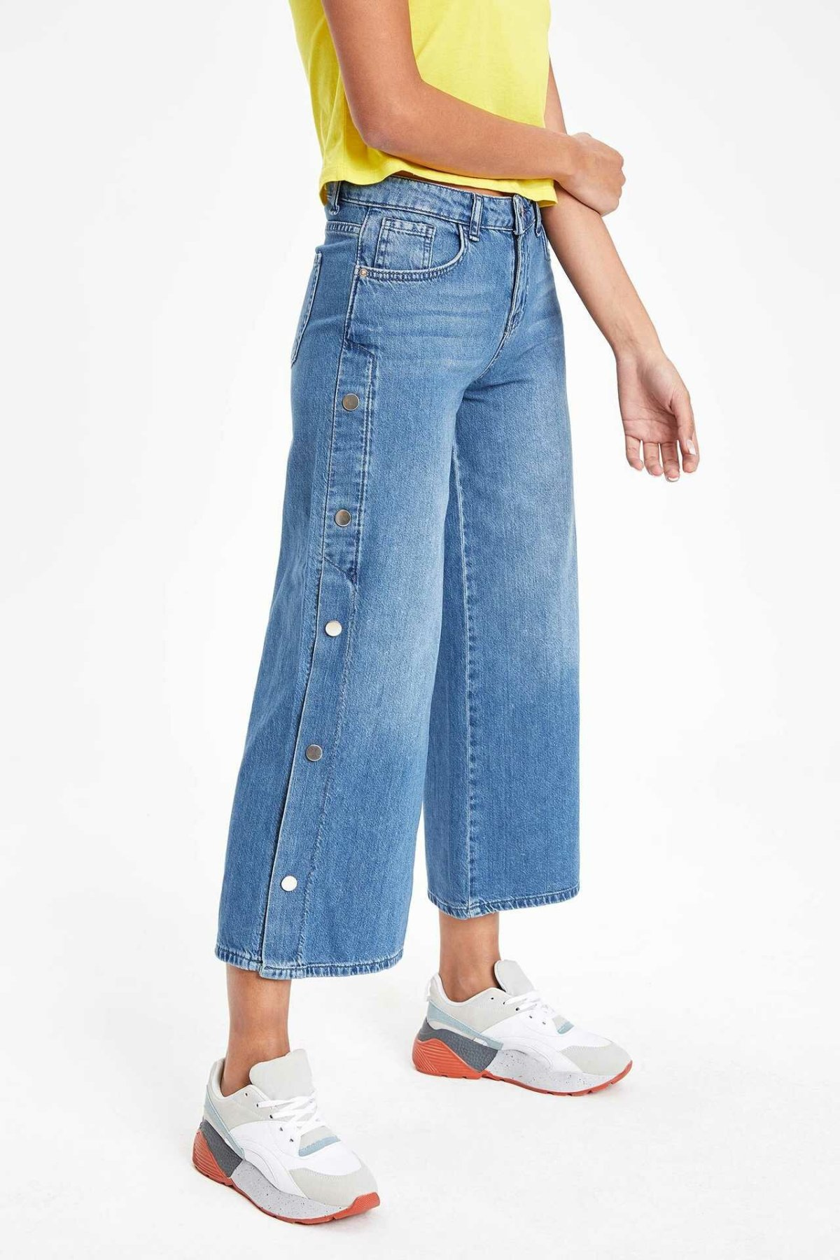 DeFacto Summer Autumn Light Blue Wide-Leg Denim Jeans Ankle-length Women Denim Trousers Casual Pants-J6083AZ18CW-J6083AZ18CW