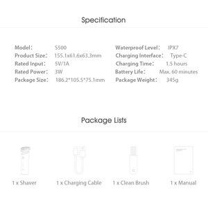 Image 4 - מקורי Xiaomi Mijia S300 S500 S500C חשמלי מכונת גילוח IPX7 עמיד למים כפול להב עם ראש xiaomi מכונת גילוח