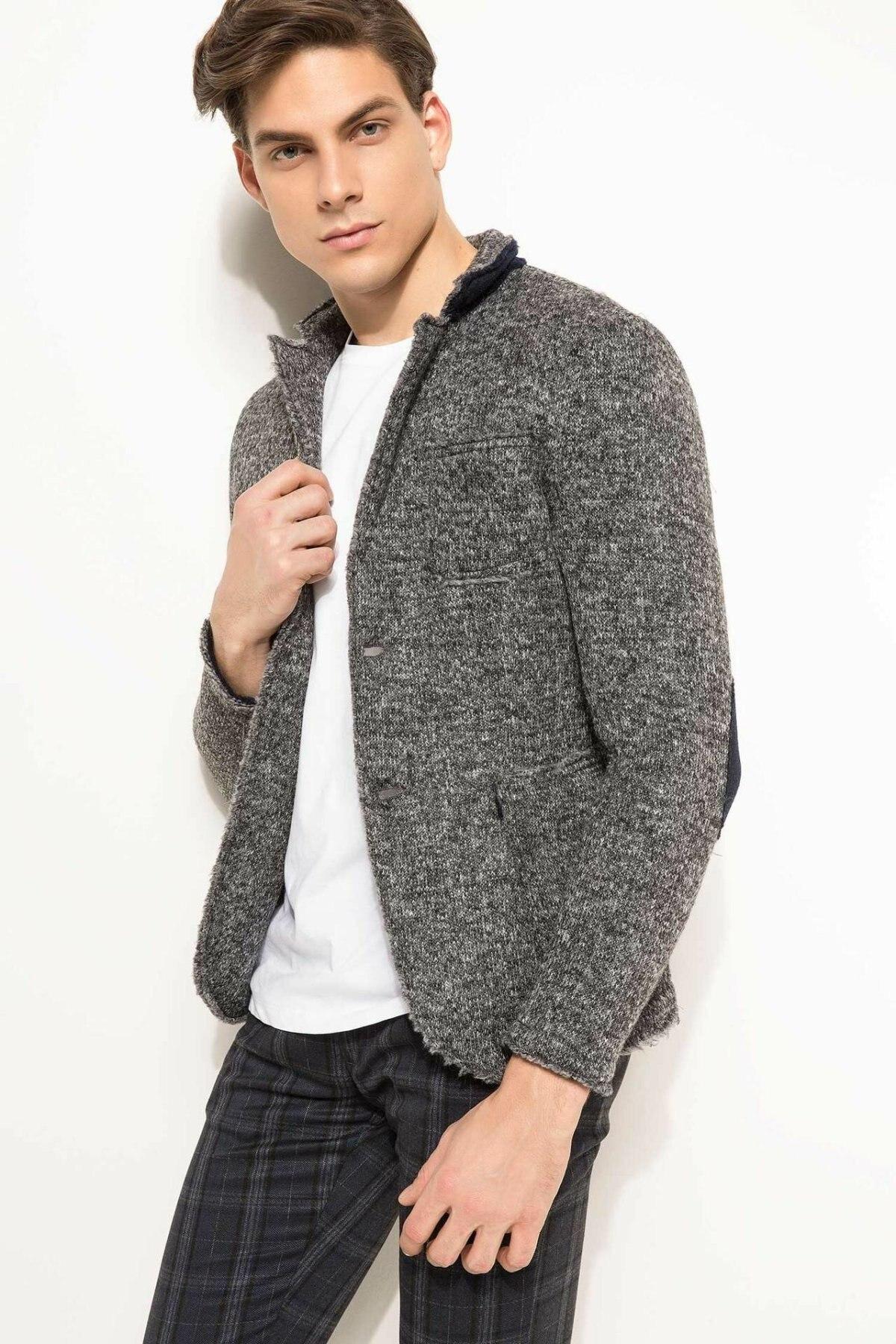 DeFacto High Quality Brand Men Blazers Men Casual Coat Men Fashion Blazers Lapel Collar Joker Autumn Spring New - I6435AZ17CW