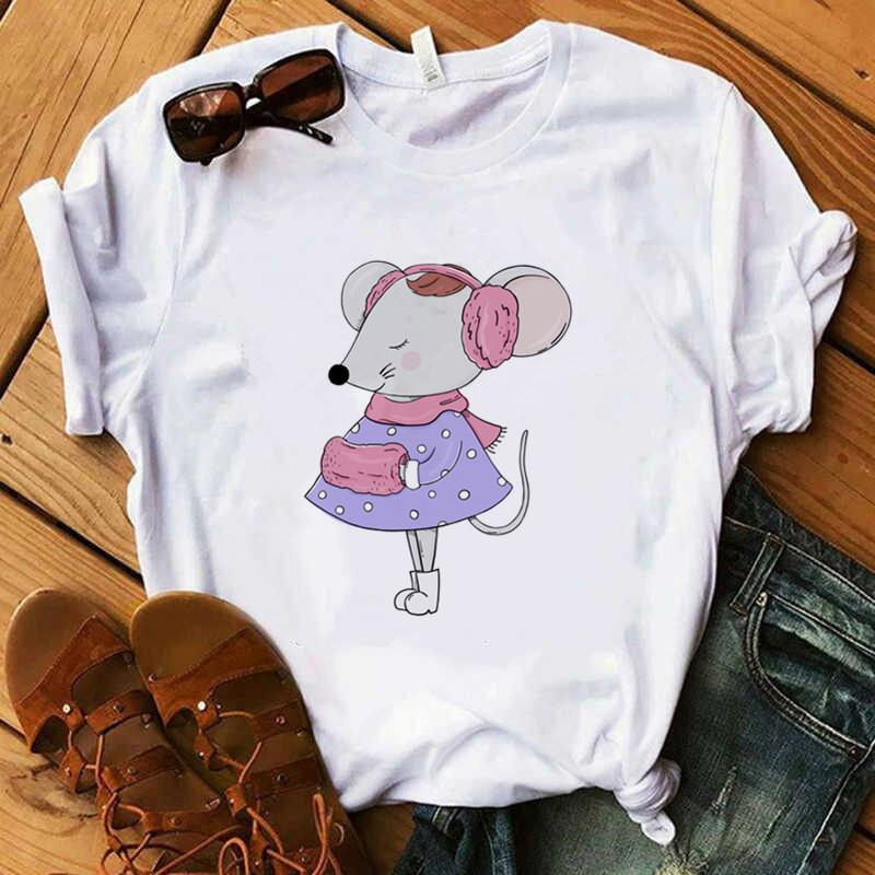 Mouse Print T Shirt Women 90s Harajuku Ullzang Fashion T-shirt Graphic Cute Cartoon Tshirt Korean Style Top Tees Female