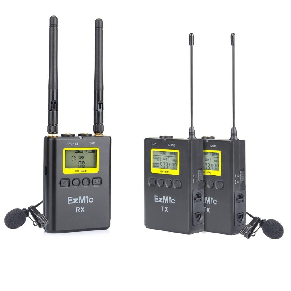 Microphone de Lavalier professionnel sans fil à double canal EzMic 100 canaux UHF Compatible avec les caméscopes DSLR
