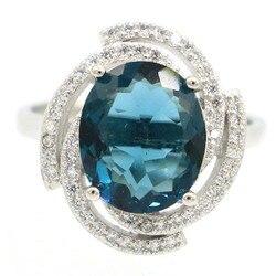18x16 мм Романтическая звезда создан темно Лондон Голубой Топаз кубического циркония для женщин подарок Серебряные кольца