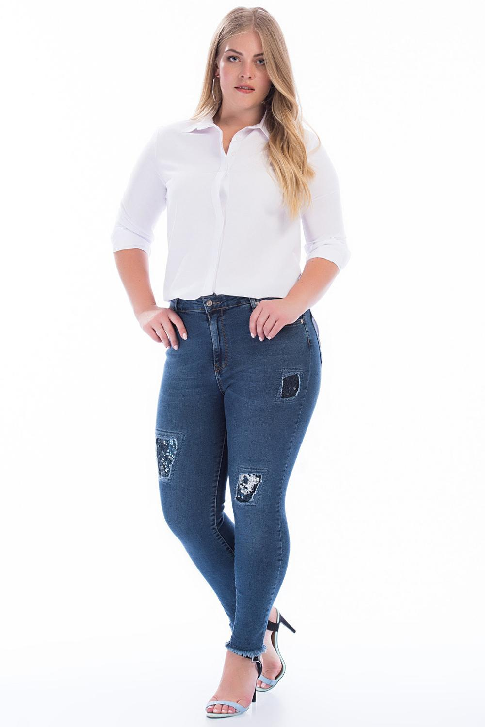 Women's Plus Size Sequins Detail Jeans Trousers Blue 49108