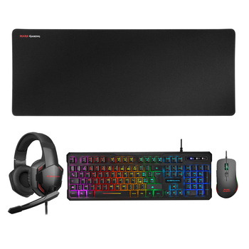 Mars Gaming MCPPRO218, Pack Gaming 4 in 1, mouse RGB ergonomic, Afombrilla XL, headphones Over-ear, Italian Layout Teclado