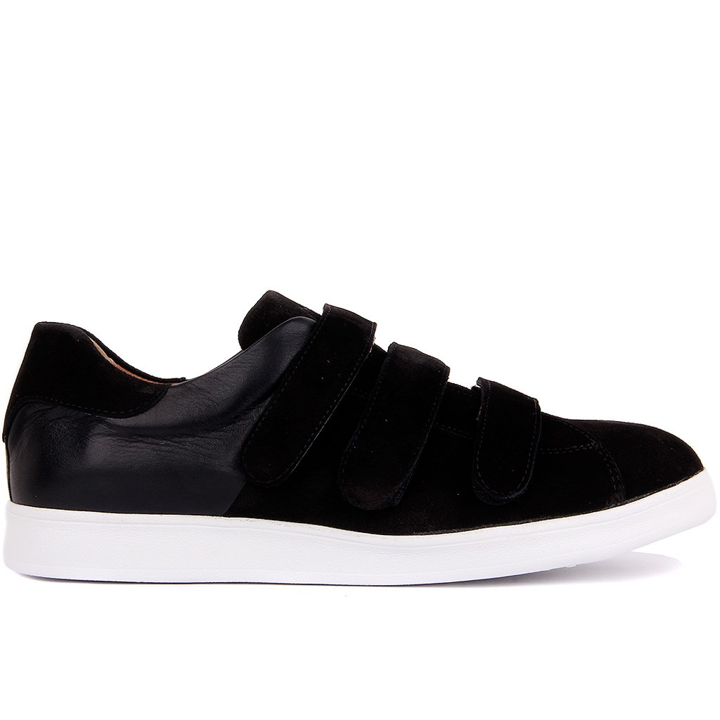 Sail-Lakers Black Suede Leather Velcro Boys Shoes
