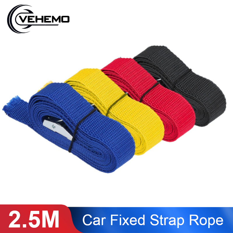 VEHEMO 2.5M Car Buckle Fixed Luggage Belt Strap Tie Alloy Locking Buckle Auto Retractor Boat Alloy Tension Rope Car Accessories image