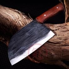 בעבודת יד סיני קופיץ שף סכין מנגן פלדה אקו ידידותי מטבח חיתוך לקצוץ בישול בית כלים מנגל גאדג טים עץ ידית