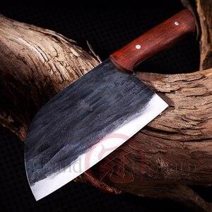 Image 1 - Couteau de Chef chinois fait main en acier au manganèse tranchage cuisine écologique outils pour la maison, Gadgets BBQ manche en bois