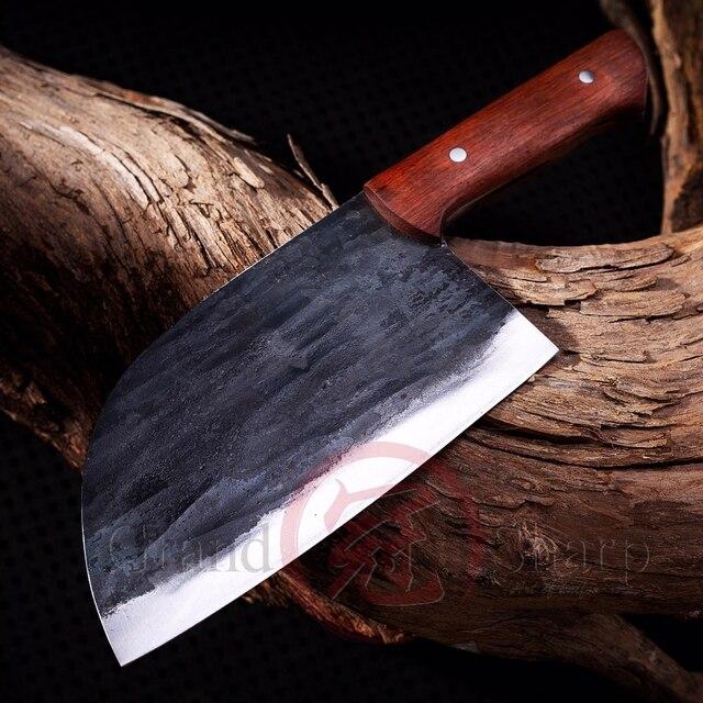 Couteau de Chef chinois fait main en acier au manganèse tranchage cuisine écologique outils pour la maison, Gadgets BBQ manche en bois